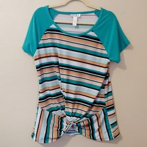 3/$25 Just Be striped knotted capped sleeve top
